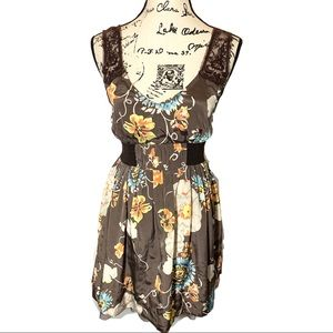 Free People Fit Flare Tulle Floral Dress
